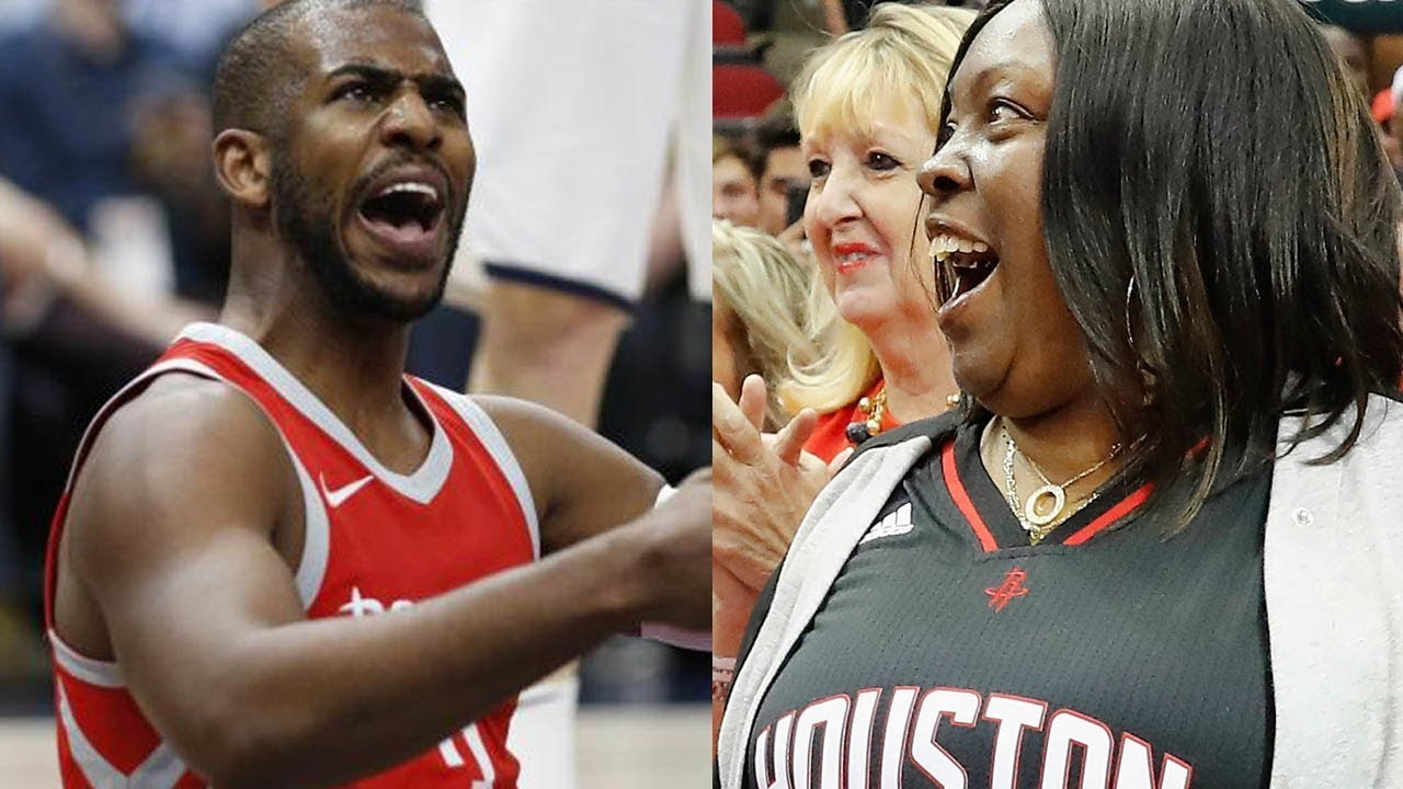 b98d5077fc17 James Harden s Mom Causes Chris Paul to Turn the Ball Over - YouTube