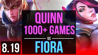 QUINN vs FIORA (TOP) | 1000+ games, KDA 17/4/9, Godlike | EUW Master | v8.19