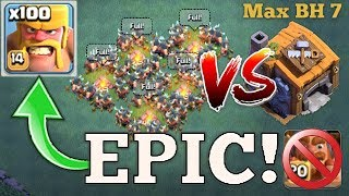 WORLD RECORD | MASS RAGED BARBARIANS VS MAX BUILDER HALL 7 WITHOUT BATTLE MACHINE - Clash Of Clans