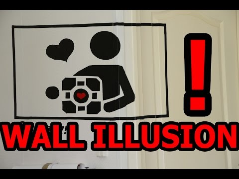 WALL ILLUSION Companion Cube  - FORCED PERSPECTIVE