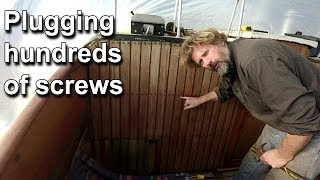 Plugging hundreds of screws - Wooden boat restoration - Boat Refit - Travels With Geordie #95