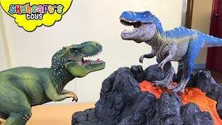 SCHLEICH DINOSAURS in Volcano! Skyheart plays with dinosaur toys for kids trex raptors