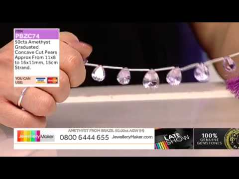 Black and Red stripe Agate and Tanzanite for jewellery making: JewelleryMaker LIVE 28/03/2015