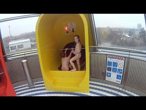 Scary Yellow Water Slide at Aquapark Olomouc