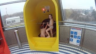 Scary Yellow Water Slide at Aquapark Olomouc