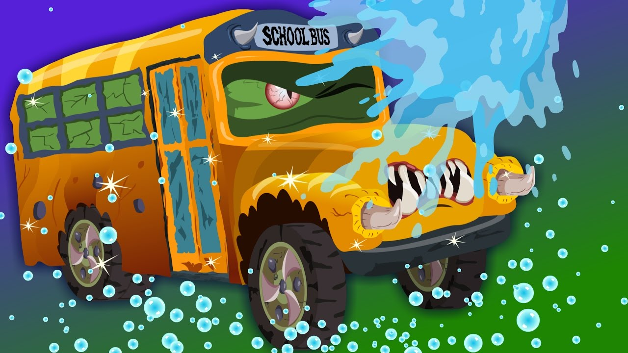 scary school bus | car wash | Halloween videos for children