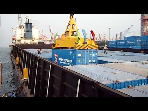 Loading Container Barge