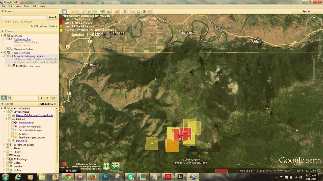 how to get infrared fire data in google earth