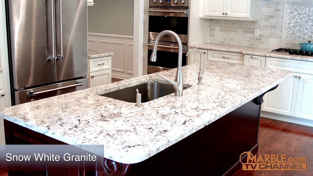 Snow White Granite Kitchen Countertops - YouTube
