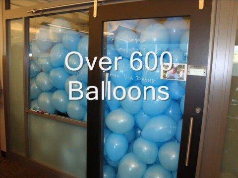 Office full of balloons - YouTube