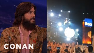 Jared Leto Ziplined Into A Thirty Seconds To Mars Concert  - CONAN on TBS