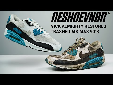 Vick Almighty shows #HowToRestore #DESTROYED Nike Air Max 90s with #RESHOEVN8R