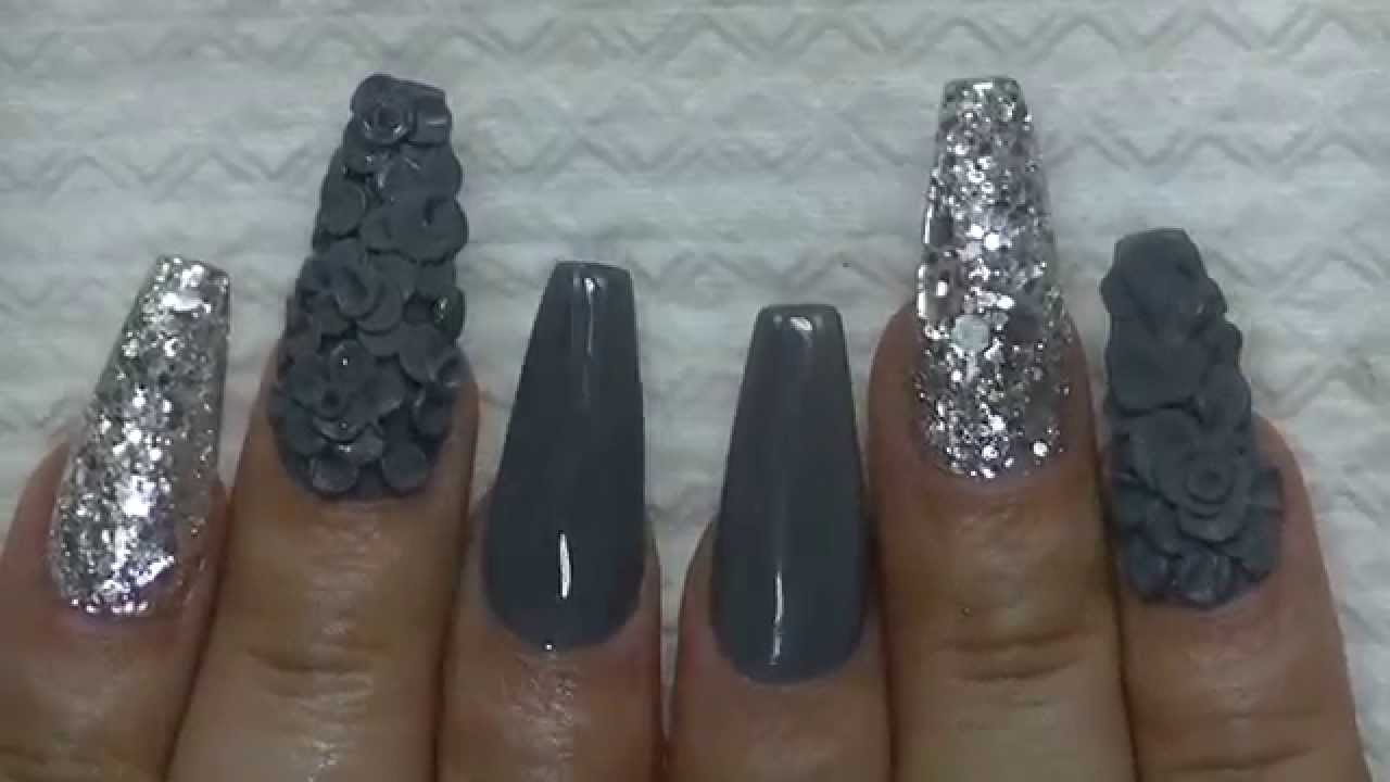How To Shades Of Gray Nail Tutorial Coffin Shape Youtube