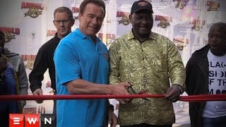 Arnie officially cut the ribbon to declare the 2016  Arnold classic Africa open, the event will see 48 different sporting codes with over 11,000 athletes taking part in the weekend long event at the Sandton Convention centre.