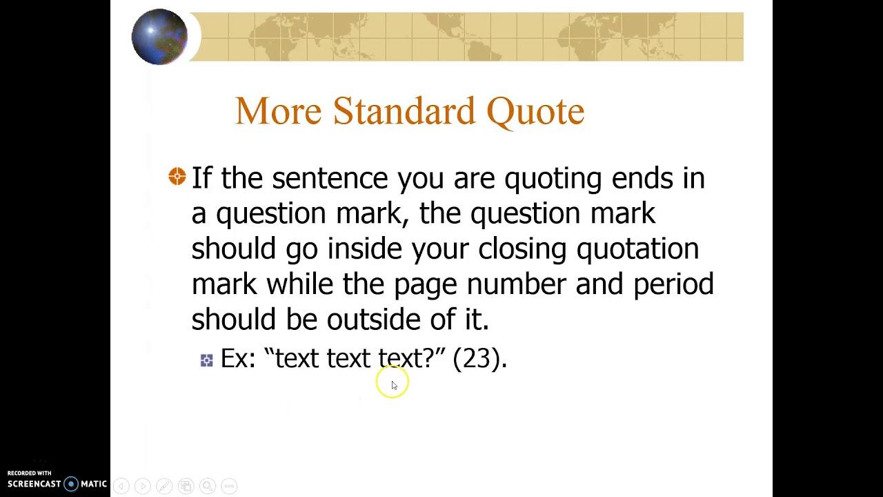 English 1050 Mla Citation Pt I In Text Citations Youtube