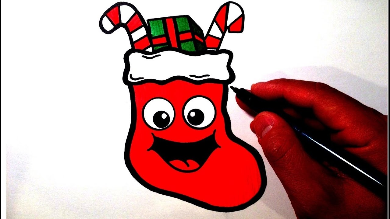 How to Draw a Cute Christmas Stocking Smiley Face - YouTube