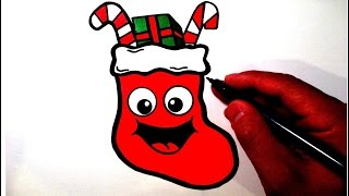 How to Draw a Cute Christmas Stocking Smiley Face