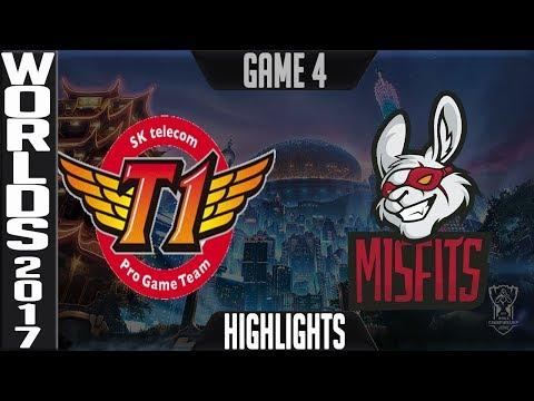 SKT vs MF Highlights Game 4 - Quarterfinal World Championship 2017 SK telecom T1 vs Misfits Worlds