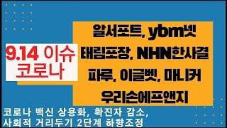[ 9/14 이슈 ] 코로나 관련, 알서포트, ybm넷, 태림포장, NHN한국사이버결제, 파루, 이글벳