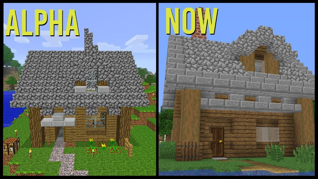 Building The Same Minecraft House in Alpha, Beta and Now