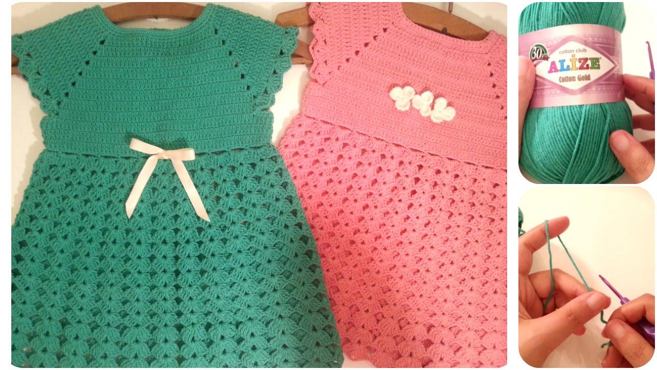 6388f2801  فساتين اطفال كروشيه من مقاس 2-10 سنوات بدون خياطة #1 Crochet Dresses for  toddlers 💟 - YouTube