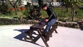 Panchina convertibile in tavolo
