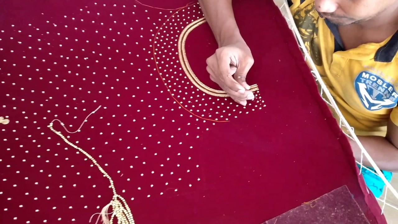 Zardosi bead work on red velvet gown - YouTube
