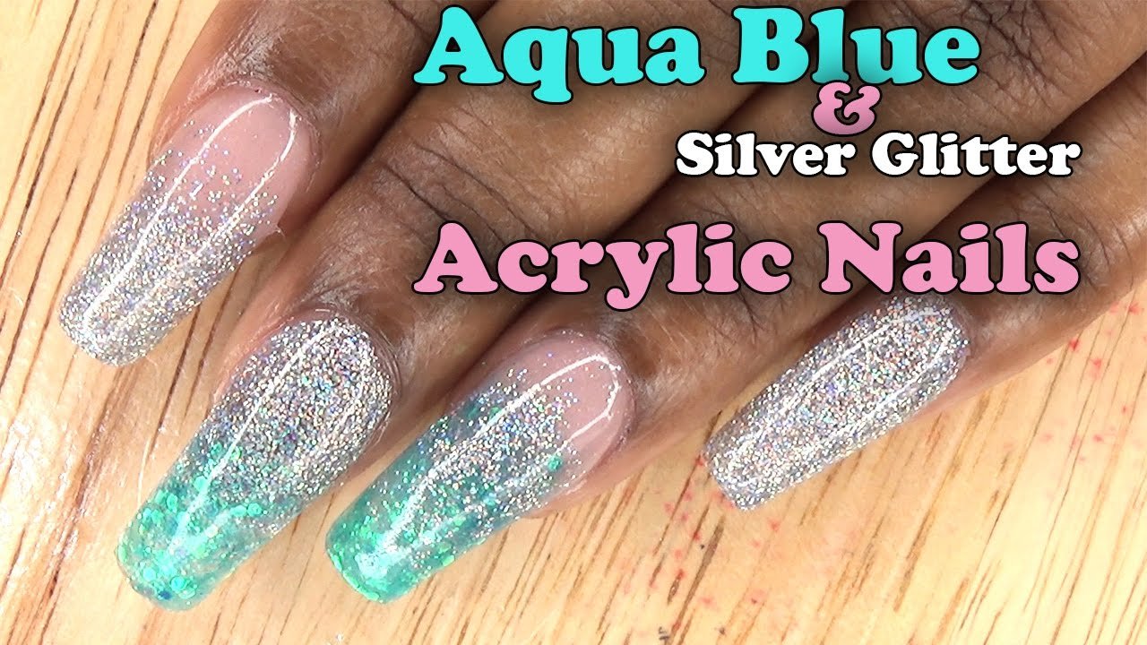 Acrylic Nails Aqua Blue And Silver Glitter Full Set With Tips Longhairprettynails