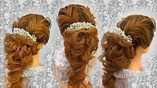 Причёска на длинные волосы. Причёска из косы (рыбий хвост). Причёска с плетением.