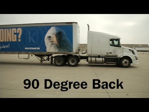 Performing a 90 degree back with a semi truck