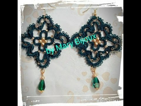"Orecchini chiacchierino ""Smeraldo""--Earrings tatting ""Emerald"""