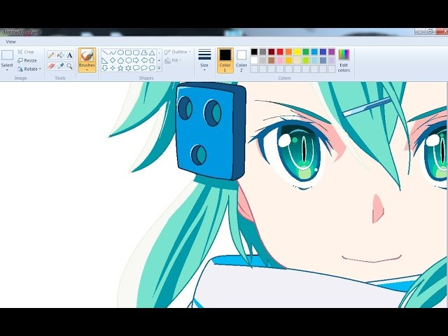 Drawing Anime Girl on MS Paint - Sinon Speedpaint