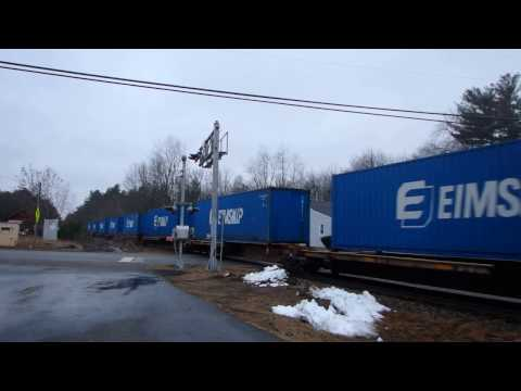 NB freight at Newton Junction, NH