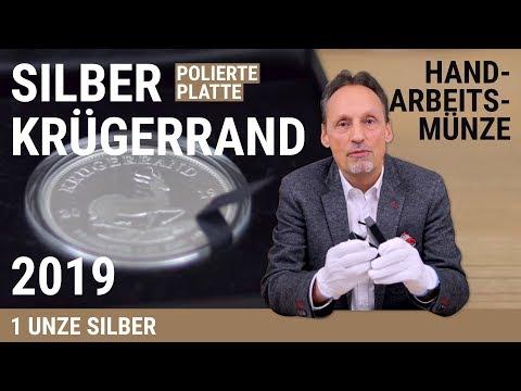 SILBER KRÜGERRAND - 1 UNZE SILBER - POLIERTE PLATTE 2019