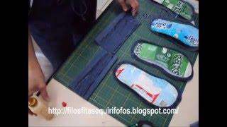 Como reciclar caixa de leite – 2 – Chinelinho de quarto