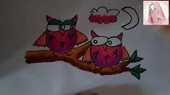 Cara Menggambar Burung Hantu Dengan Crayon How To Draw An Owl Bird