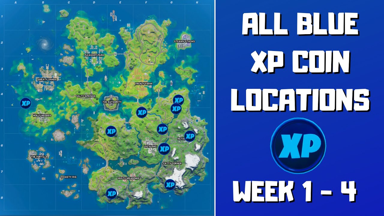 All 10 Blue XP Coins Locations in Fortnite Week 1-4! - Fortnite Chapter 2 Season 3