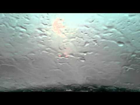 Driving through heavy rain