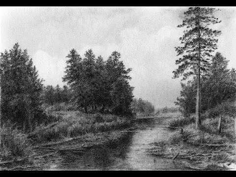 Drawing Pencil   How To Draw a Landscape with Trees and a Small River