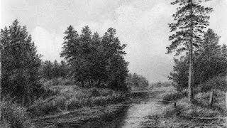 Drawing Pencil | How To Draw a Landscape with Trees and a Small River