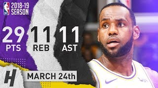 LeBron James Triple-Double Full Highlights Lakers vs Kings 2019.03.24 - 29 Pts, 11 Ast, 11 Reb!