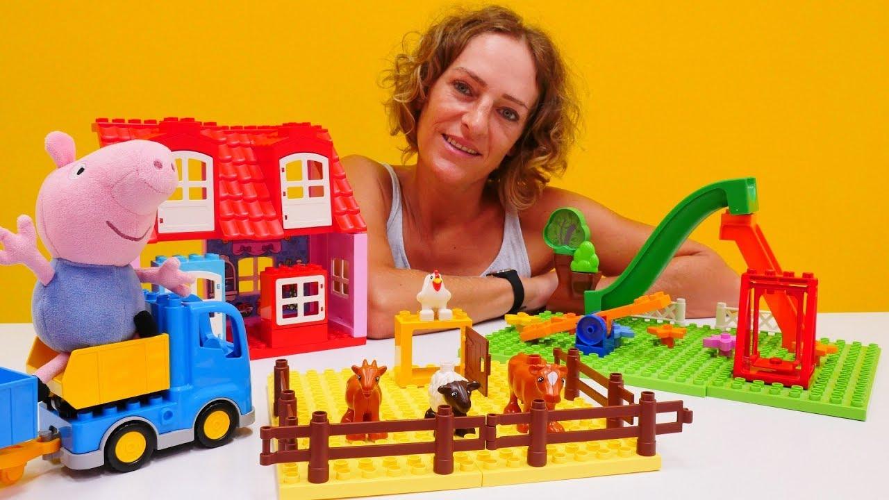 Peppa wutz spielzeug schorsch spielt mit lego youtube