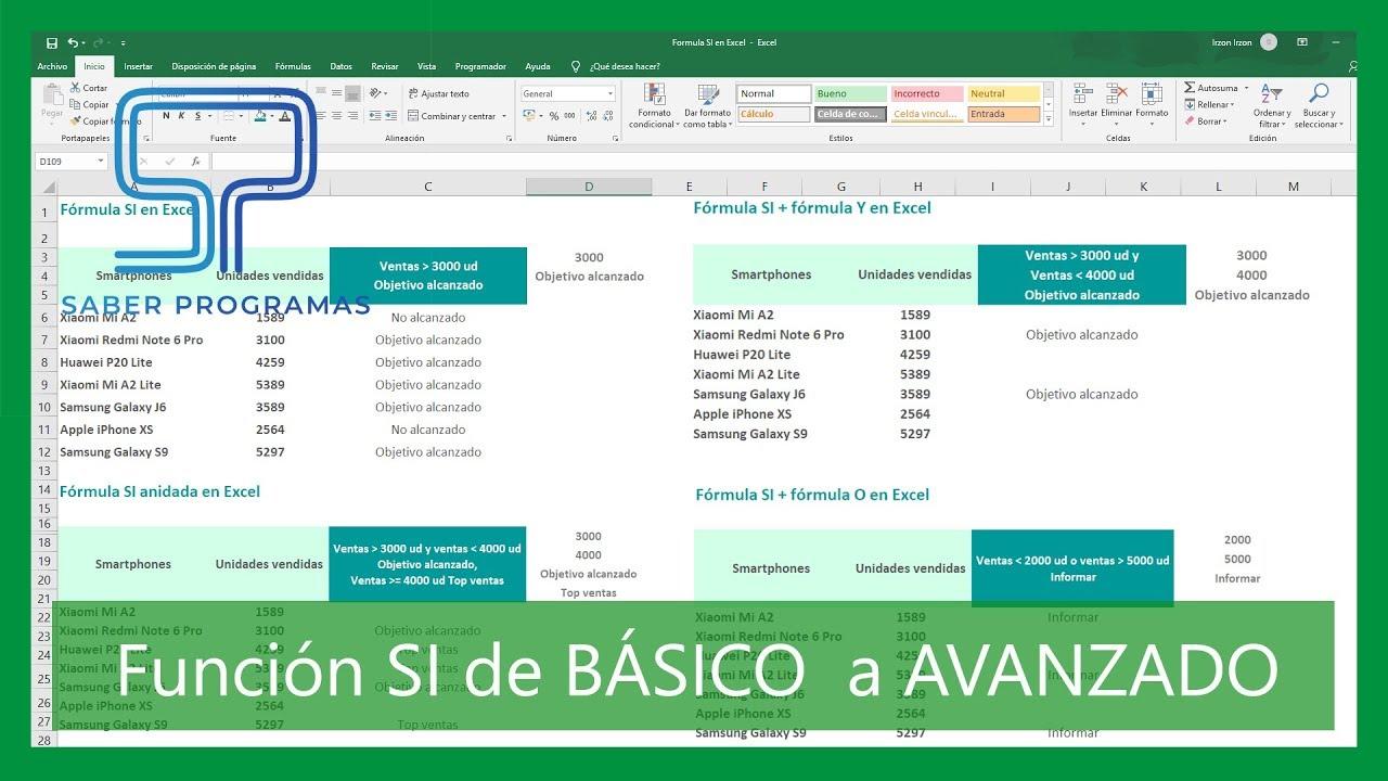 FUNCIÓN SI en Excel de Básico a Avanzado  función SI Y O, varias  condiciones, SI anidada