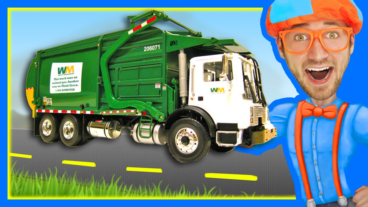 garbage trucks for children with blippi learn about recycling youtube. Black Bedroom Furniture Sets. Home Design Ideas