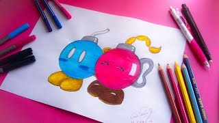 Drawing Bomb and Bombette from (Paper Mario)/ Dibujando a Bomb y Bombette (Mario Papel)