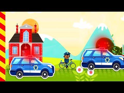 Погоня полицейской машины. Полицейский на велосипеде едет за машинами с мигалками.