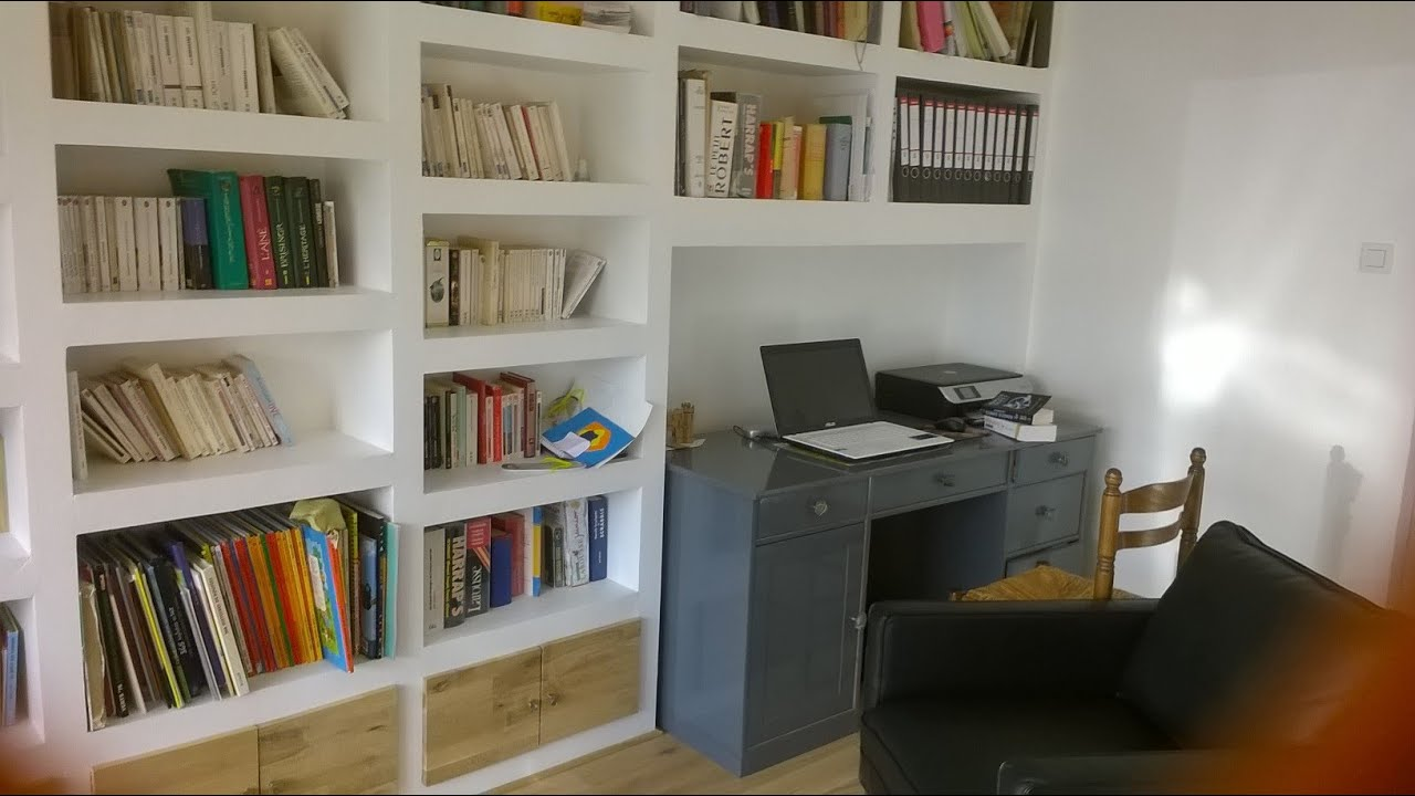 Comment faire une biblioth que en placo youtube - Model de bibliotheque en bois ...