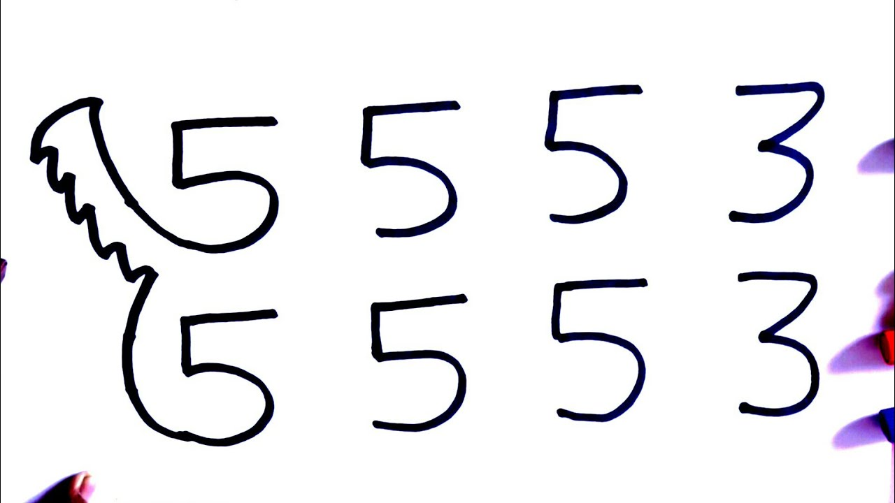 Hindi how to draw dog from 5553 number step by step very easy drawing
