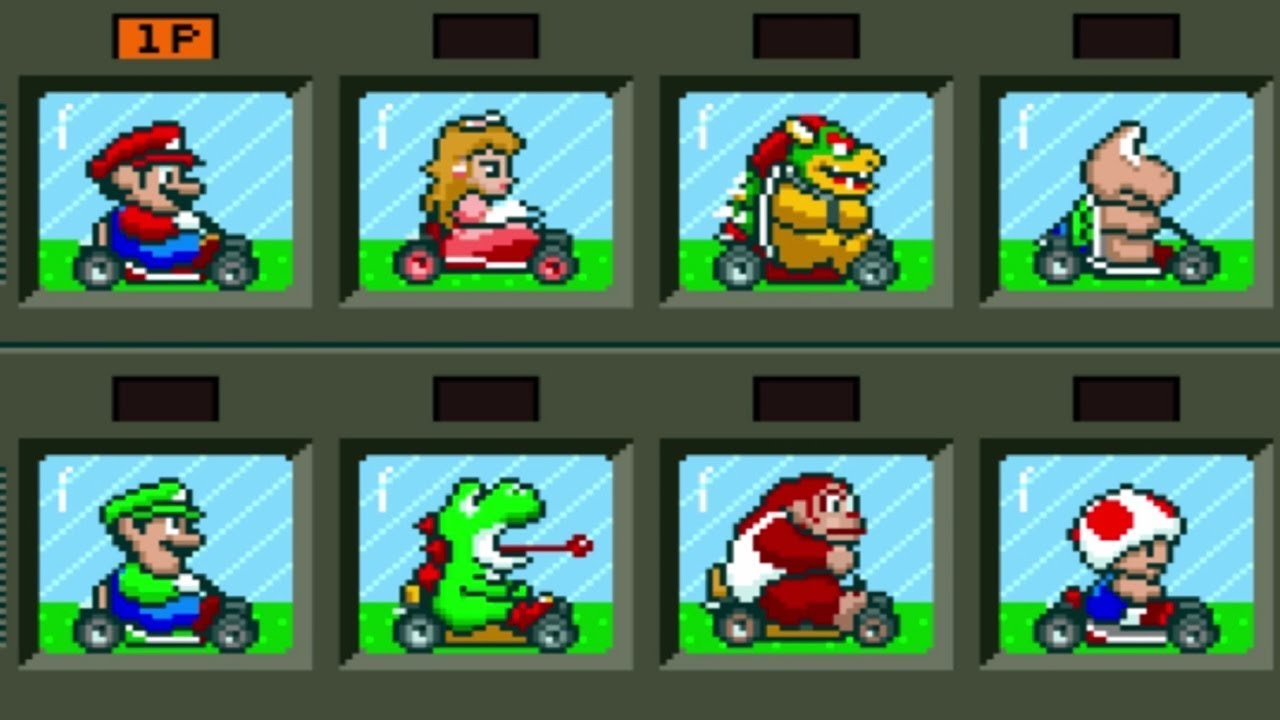 Image result for super mario kart characters snes