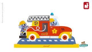 Dřevěné magnetické puzzle Hasičské auto Vertical J